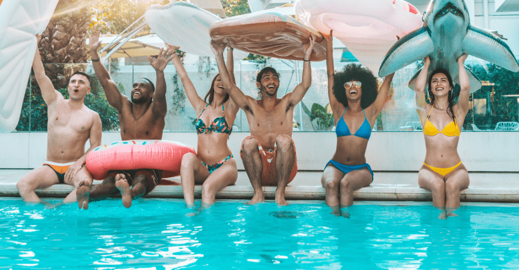Friends at an apartment pool