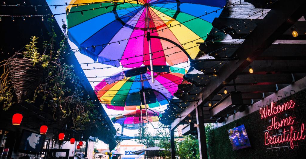 Outdoor restaurant patio, Hillcrest, San Diego