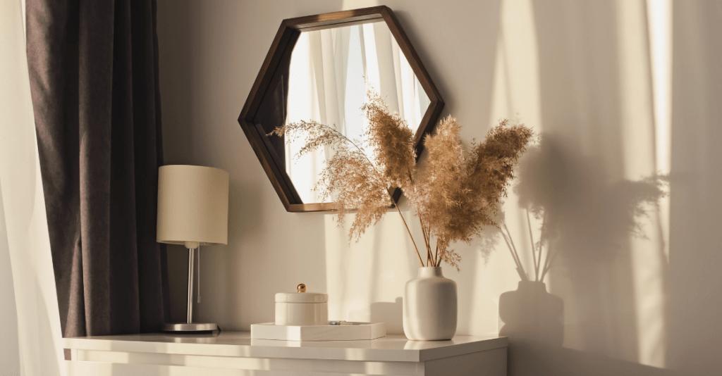 Wall mirror facing a window