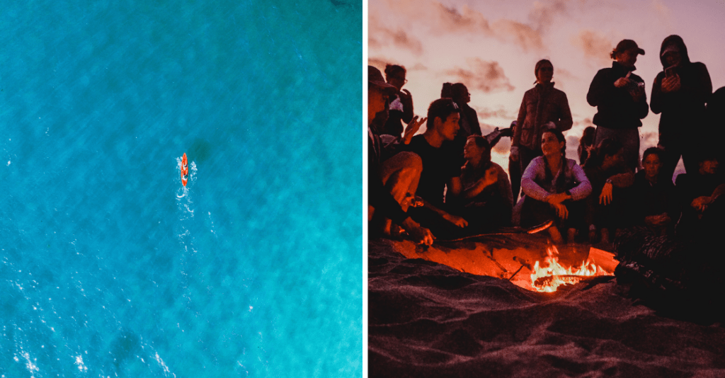 people kayaking in San Diego, and a group of friends having a beach bonfire